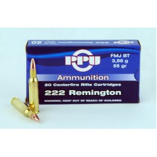 PPU  .222  Remington  FMJ  BT  3,56 g/55 gr.